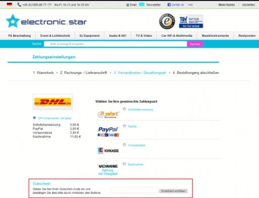 Das markierte Feld Gutscheincode, in das Sie den Electronic-Star.de Gutschein eintragen müssen