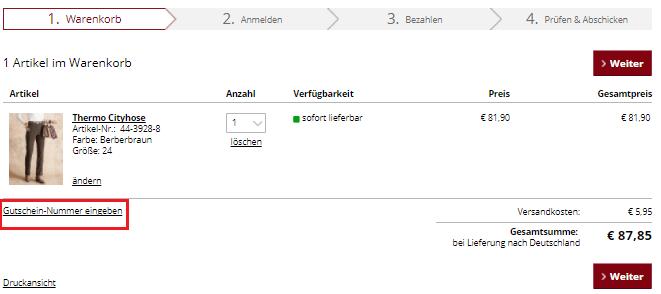 Gutschin-Nummer eingeben beu FASHION24