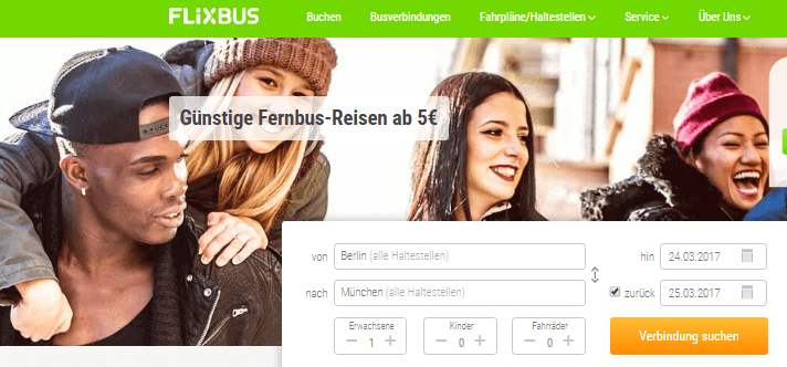 FlixBus Hauptseite
