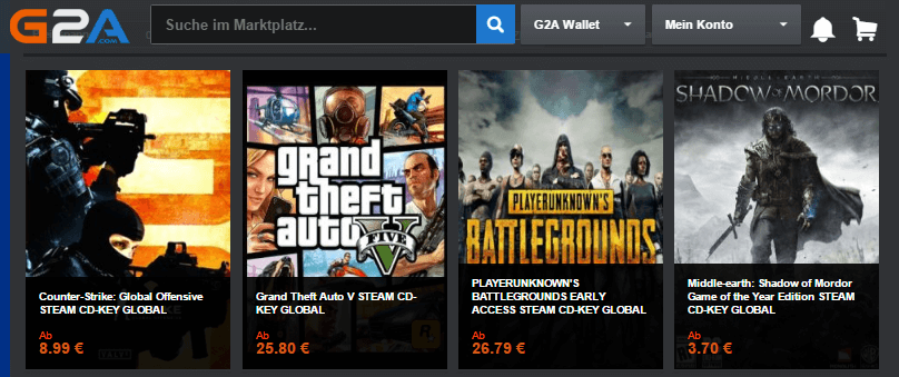 Action Spiele bei G2A