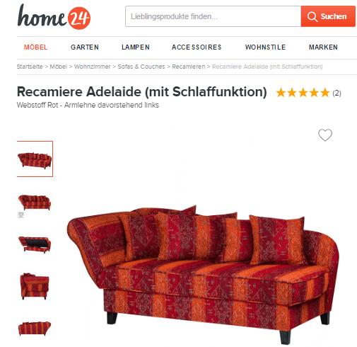 Ein Sofa bei home24