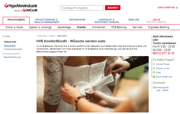 Kredit für die Hochzeit bei HypoVereinsbank