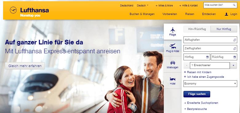 Suchleiste der Lufthansa Angebote