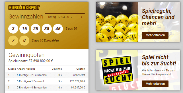 Eurojacktpot bei Lotto.de