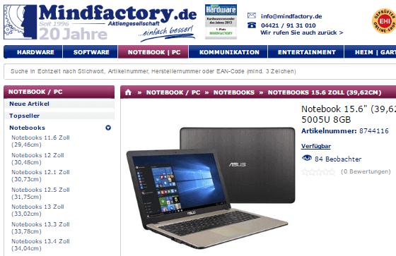 Notebooks bei Mindfactory.de