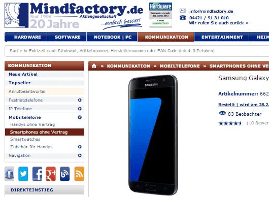 Smartphones bei Mindfactory.de