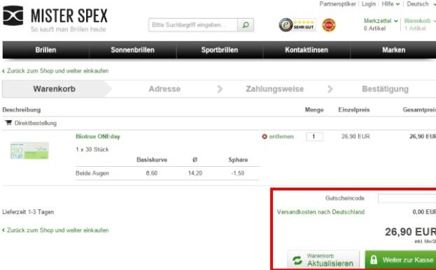 Das markierte Feld: Gutscheincode Mister Spex