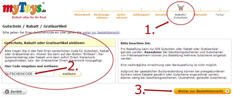 Eine Beispiel Bestellung mit dem markierten Feld Code einlösen