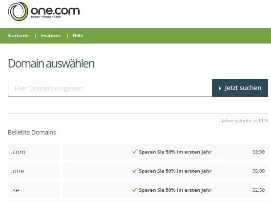 Ein Angebot bei one.com