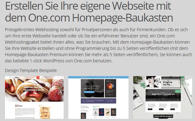 Beispiel Webseiten bei one.com
