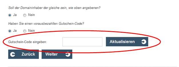 Eine Beispiel Bestellung mit dem markierten Feld - Gutschein-Code eingeben
