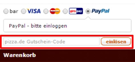 Eine Beispiel Bestellung mit dem markierten Feld Gutschein-Code