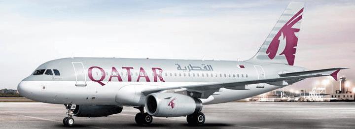 Das Flugzeug der Firma QATAR Airways