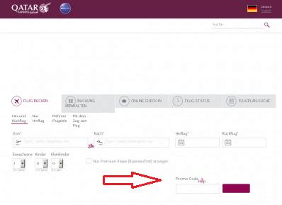Ein Bild der Webseite der Fluggesellschaft mit der Erklärung wo die Kunden den QATAR Airways Promo Code speichern können