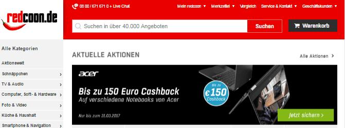 Notebook bei redcoon.de