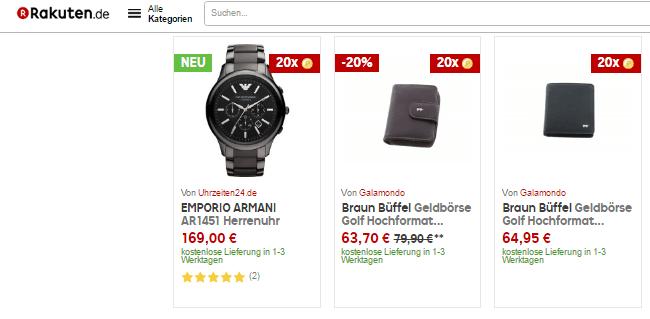Eine Uhr und Geldbeutel bei Rakuten.de