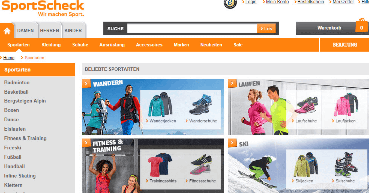 SportScheck Webseite