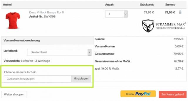 Eine Beispiel Bestellung mit dem markierten Feld Gutschein hinzufügen, in dem man den Strammermax Gutschein einlösen kann