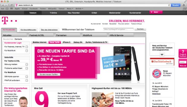 Die Telekom Webseite und tollen Angeboten und Rabatten für die Bestands- und Neukunden