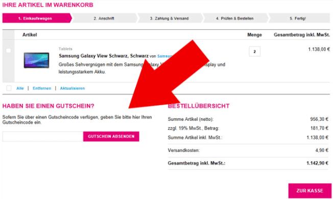t-online shop Gutschein