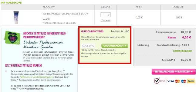 Eine Beispiel Bestellung mit einem THE BODY THE BODY SHOP Gutscheincode