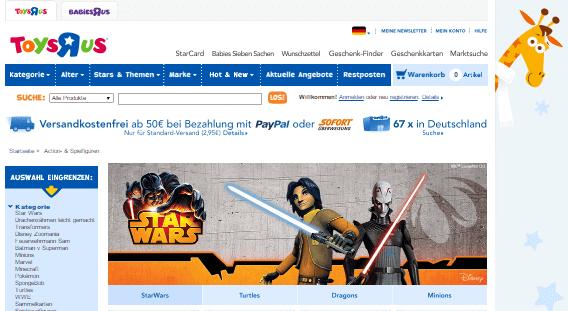 Die ToysRUs Webseite