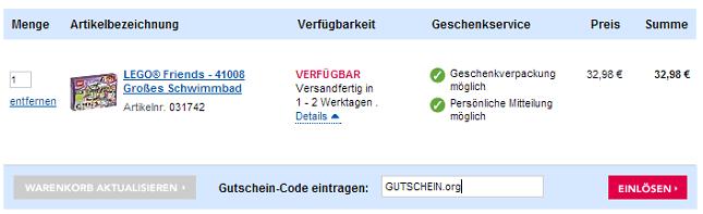 Eine Beispiel Bestellung mit dem markierten Feld Gutschein Code eintragen