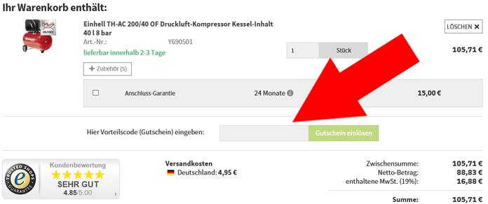 Eine Beispiel Bestellung mit dem markierten Feld - Gutschein eingeben