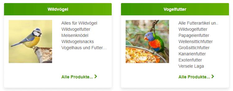 Vogel Produkte bei Zooplus