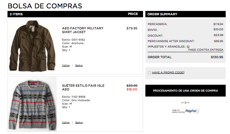 Screen de la bolsa de compras American Eagle
