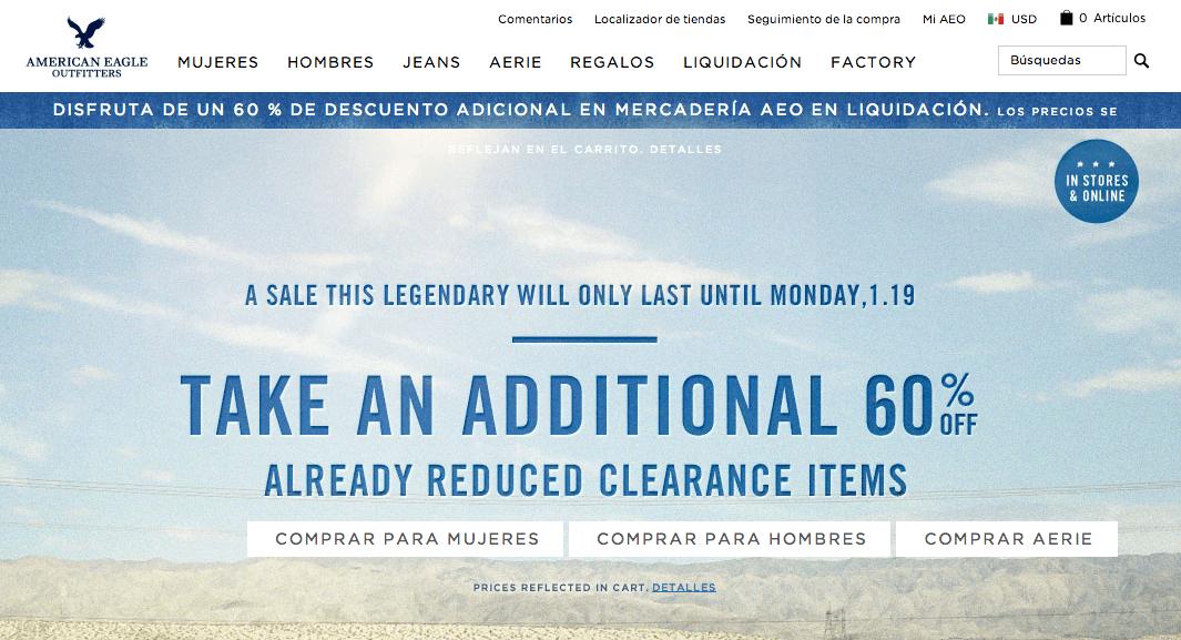 screen de la tienda online American Eagle - pagina home