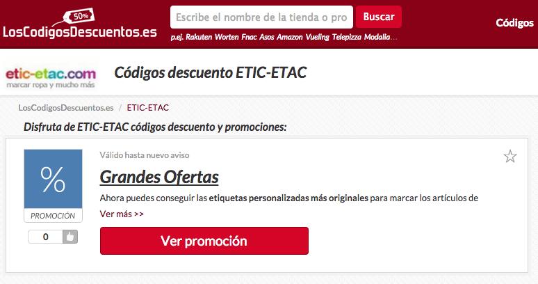 promociones de etic etac