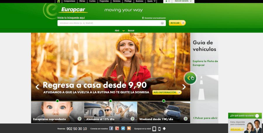 Página principal Europcar