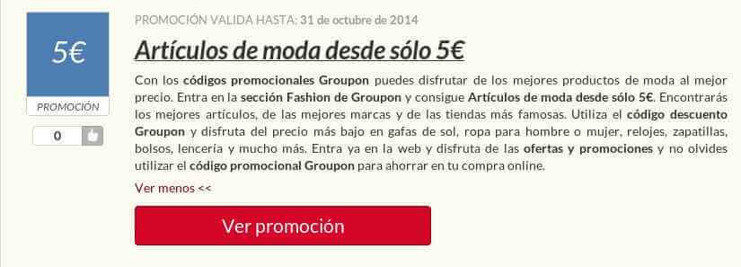 Ejemplo de Código Promocional Groupon