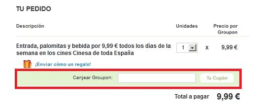 Realización del pedido con codigo descuento Groupon.