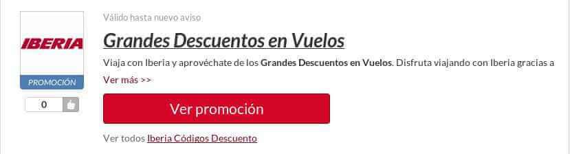 Ejemplo Código Descuento Iberia