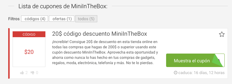 código descuento Mini In The Box