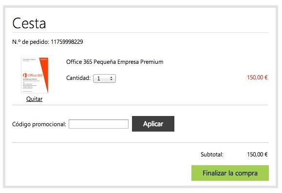 Realización del pedido con codigo promocional Microsoft Store