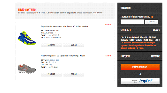 Realización del pedido con cupon descuento Nike.