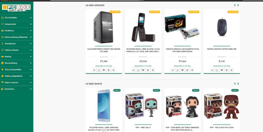 screen de la tienda pcbox