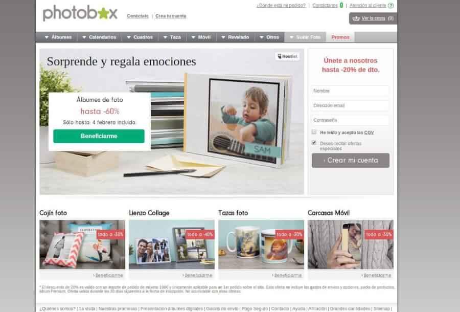 Visita la página de Photobox y aprovecha los mejores precios