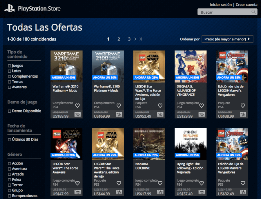pagina home de la tienda online playstation