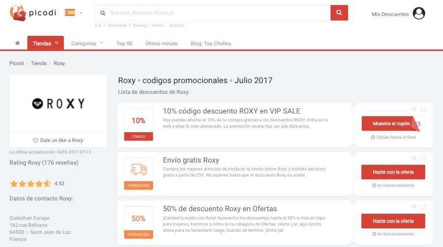códigos promocionales roxy
