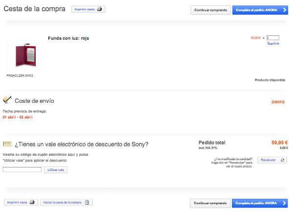 Realizacion del pedido con codigo promocional Sony