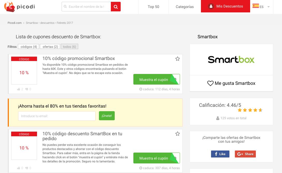 codigos descuento smartbox