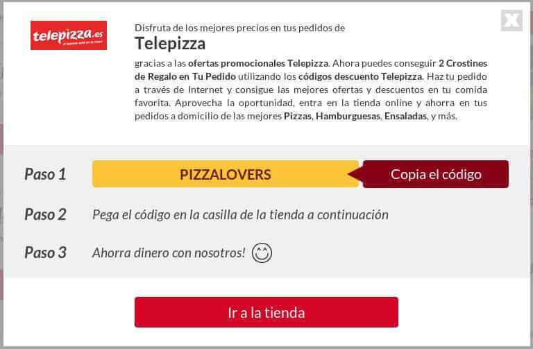 Ejemplo Código Descuento Telepizza