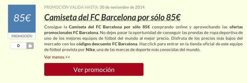 Ejemplo de un código promocional fc barcelona