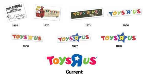 Logos ToysRus a través del tiempo