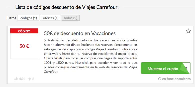 Códigos descuento Carrefour Viajes