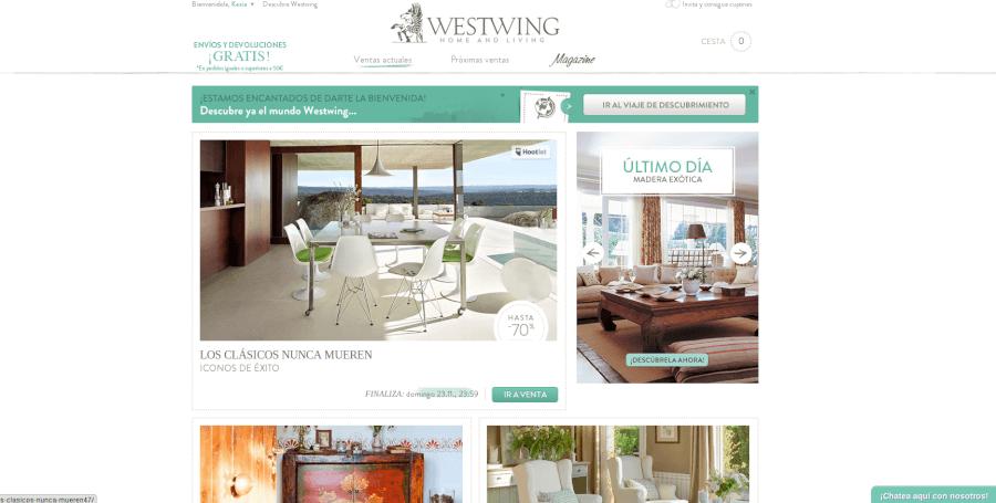 Entra en la página principal de Westwing y descubre las últimas campañas